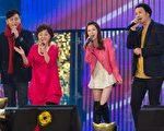 (左起)陈冠霖、纪宝如、杨可涵及陈志强上节目宣传新剧。(三立提供)