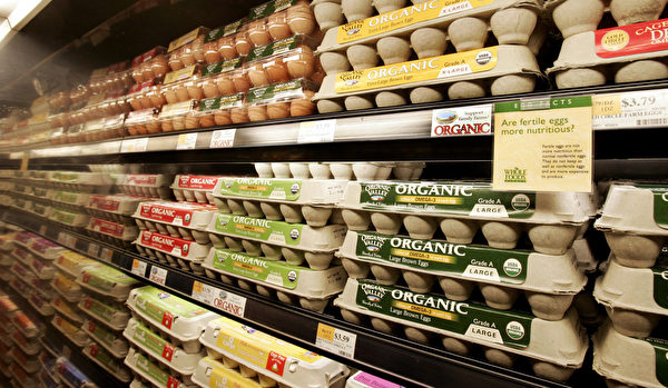 美国食品连锁店里各种各种的有机鸡蛋。(JEFF HAYNES/AFP/Getty Images)
