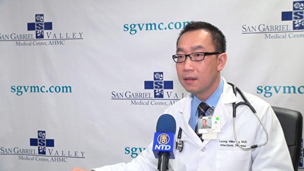 圣盖博医院感染病专科医生李盛良接受记者采访。(薛文/大纪元)