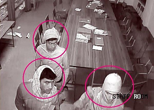 警方公開了修道院拍到的監控錄像畫面,並懸賞10万盧比(1500美元),給提供嫌犯線索的人。(AFP)