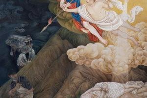 《天譴邪惡》,樊弘 (AMY LEE),材料:絹絲、水墨、礦物質顏料,48.3 x 40 inches (122.7 x101.6cm) ,2013年。