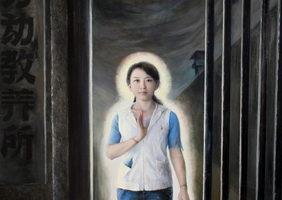 《正念走出》,陳肖平,油彩.畫布,76x158cm,2006