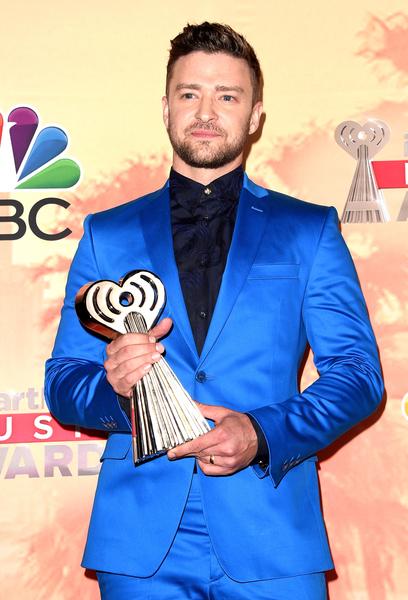 賈斯汀(Justin Timberlake)獲頒iHeartRadio創新獎殊榮。(Jason Merritt/Getty Images)