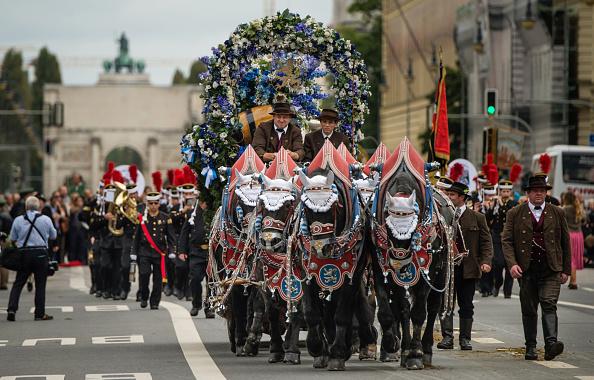 慕尼黑啤酒節開幕式第二天的民俗彩裝大遊行非常壯觀,有9,000人參加。圖為裝扮得非常氣派的馬車。(Joerg Koch/Getty Images)