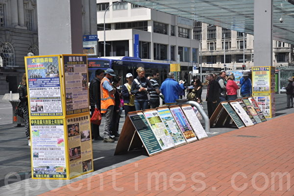 2014年11月8日中午,新西蘭法輪功學員在奧克蘭市中心舉辦反酷刑展示,譴責中共活摘法輪功學員器官牟利的暴行。圖為民衆在觀看真相展板。(張莉莉/大紀元)