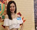 叶翠翠4月3日在香港九龙好莱坞广场为台湾牛肉面活动做宣传。(王文君/大纪元)