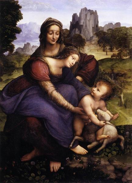 这幅相当忠实的临摹达‧芬奇《圣母子与圣安妮》的画作,现被归于弗朗西斯‧梅尔齐名下。佛罗伦萨乌菲齐美术馆藏。