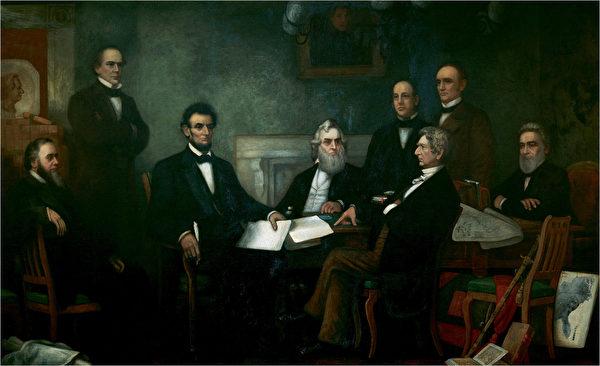 林肯向内阁提出《奴隶解放宣言》的第一草案。(维基百科公有领域)