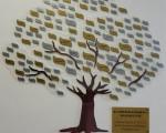 在新址的南灣文教中心大廳墻壁上貼著捐贈樹,每片葉子上寫著每一位捐贈者或團體的名字。(志工團提供)