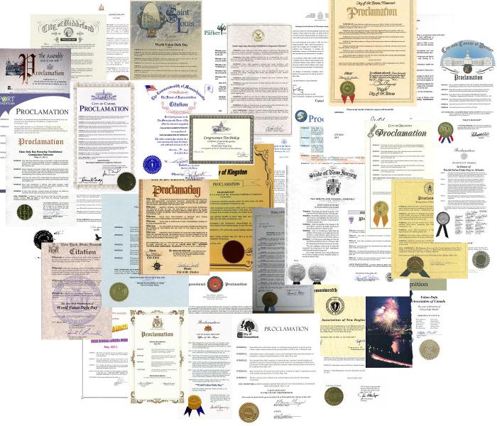 世界各國給法輪功創始人李洪志大師的各類褒獎。2007年「在世天才百強榜」排名中,法輪功創始人李洪志大師名列第12位,是當今全球影響力最大的華人。2009年李洪志大師榮獲「精神領袖獎」,並四次被提名諾貝爾和平獎。(明慧網)