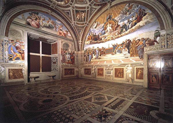 绘有壁画《圣礼之辩》的梵蒂冈教皇宫殿签字厅。(维基百科公共领域)