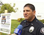 亚市警官卡斯特罗 (Michael Castro) 表示﹐去年亚凯迪亚犯罪率降低了,但今年的财产犯罪率有所增加。(郑浩/大纪元)