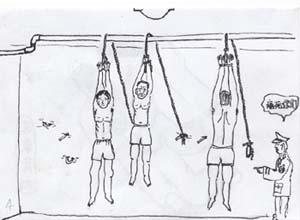 酷刑示意圖:吊銬。(圖:明慧網)