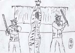 酷刑示意圖:毒打。(圖:明慧網)
