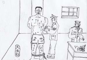 酷刑示意圖:釘大頭釘。(圖:明慧網)