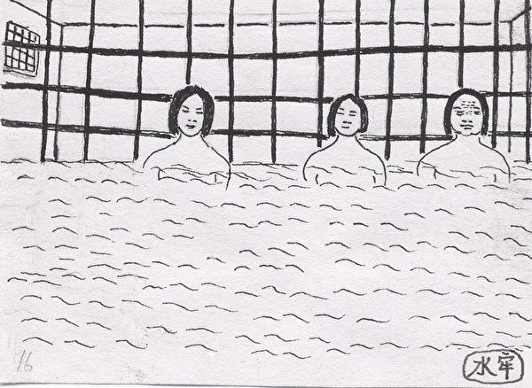 酷刑示意圖:水牢。(圖:明慧網)