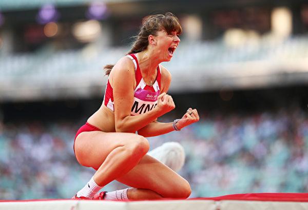 2015年6月22日,阿塞拜疆巴库欧运会,蒙特内哥罗的Marija Vukovic在女子跳高胜利时的表情。(Paul Gilham/Getty Images for BEGOC)