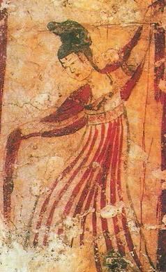 唐代壁画上的舞伎(公有领域)