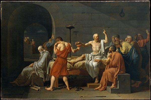 法国古典主义画家雅克―路易‧大卫绘制的《苏格拉底之死》(今藏美国大都会艺术博物馆),是最受推崇的同题材画作。(维基百科公共领域)