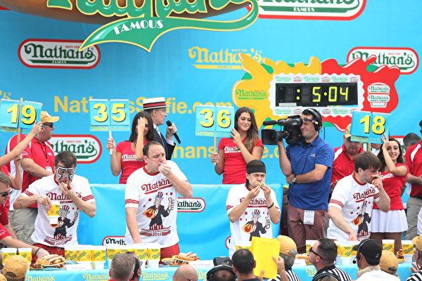 男子组比赛的中场时。可见计时器上的时间为还剩5分钟零4秒。比赛选手后面的记分牌表示的是选手已经吃下的热狗数。(杜国辉/大纪元)