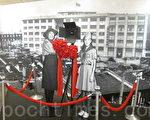 「烽火浮生錄:抗戰勝利七十週年的另一頁歷史」照片展在國父紀念館開展,女童子軍楊惠敏(左)在抗日戰爭初期, 向死守四行倉庫的八百壯士獻旗故事,展現崇高愛國情操,至今膾炙人口,1975年影星林青霞(右)主演的電影「八百壯士」,就是描述這段平民英雄故事。(鍾元/大紀元)