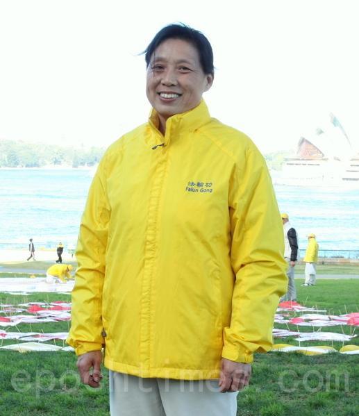 來自中國北京的陶月蘭曾因修煉法輪功被關監獄8年。(何蔚/大紀元)