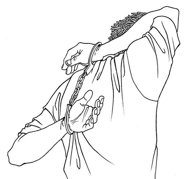 中共酷刑模拟示意图:背铐/背宝剑(明慧网)