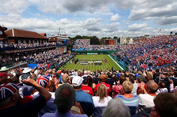 2015年7月17日,英国伦敦,戴维斯杯2015赛季世界组八强战开始打响,大满贯男单冠军得主穆雷领衔的英国队,在伦敦主场与来访的法国队战至1-1平。 (Clive Brunskill/Getty Images)