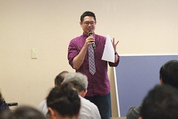 曾任南加州大學招生辦副主任,現任Collegewise獨立大學升學顧問Chris Tokuhama為聽眾詳解名校的升學秘密。(張岳/大紀元)