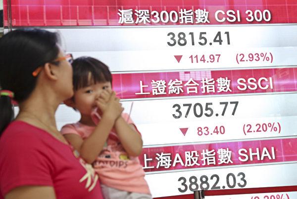 7月30日,上证指数下跌83点,收报3705点,拖累港股恒指尾盘跌穿24,500点。(余钢/大纪元)
