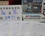 苗栗迄今已有近7千人签名举报江泽民恶行,会场上看到的是共计13日的征签单。(许享富 /大纪元)