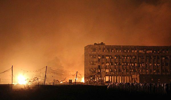 8月12日,天津爆炸现场。(STR/AFP/Getty Images)