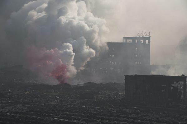 8月13日,天津爆炸現場(STR/AFP/Getty Images)