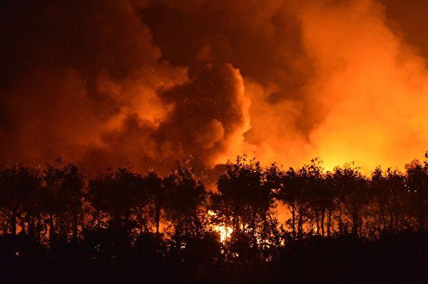 8月12日,天津爆炸现场(STR/AFP/Getty Images)