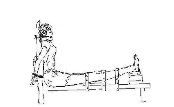 酷刑演示:老虎凳.老虎凳就是一種長時間限制身體姿勢的一種椅子,由鐵製,兩邊有搭扣將手扣住,腳也上鎖,扣的高度使人無法伸直只能半弓著。(明慧網)