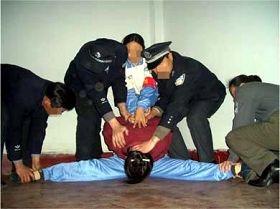 酷刑演示:劈胯(劈腿),強行將受害者的雙腿一字劈開(明慧網)