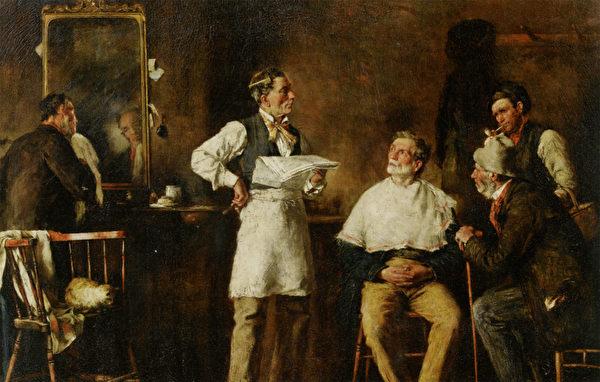 [英]乔治‧埃尔加‧希克斯(George Elgar Hicks,1824—1914),《理发店》(The Barbers Shop),私人收藏。(艺术复兴中心提供)