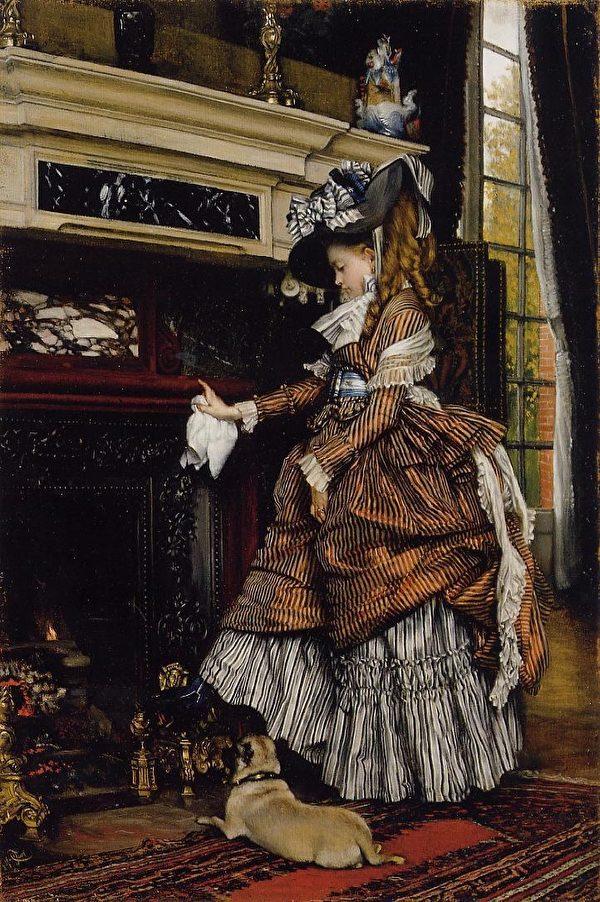 [法]詹姆斯‧約瑟夫‧雅克‧迪索(James Jacques Joseph Tissot,1836—1902),《壁爐》(The Fireplace),公共收藏。(藝術復興中心提供)