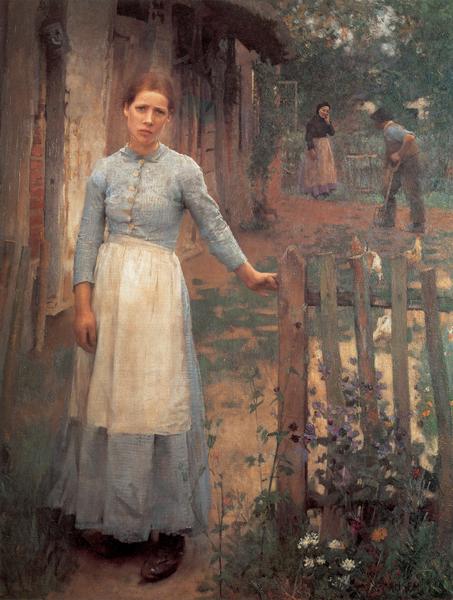 [英]喬治‧克勞森爵士(Sir George Clausen,1852—1944),《門前的女孩》(The Girl at the Gate),倫敦泰特美術館收藏。(藝術復興中心提供)