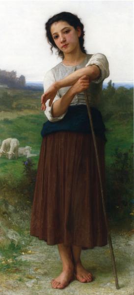 威廉‧布格羅(William Bouguereau,1825—1905),《站立的年輕牧羊女》(Jeune Bergere Debout),私人收藏。(藝術復興中心提供)