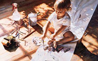 只要人類的大多數都可以自由地比較和判定什麼才是偉大的藝術,並以詩性、真與美作為指路燈,作為通用語言的傳統與當代寫實藝術一定會盎然重生。[美]史蒂夫‧漢克斯(Steve Hanks,ARC認證「在世大師」之一),《小藝術家》(Young at Art)局部,水彩,私人收藏。(藝術復興中心提供)