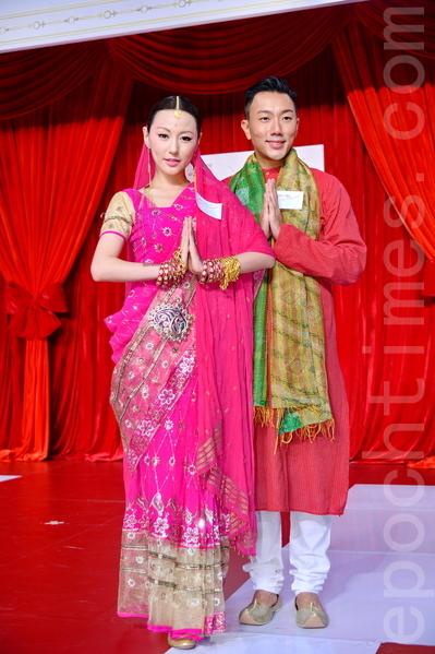 刘心悠、刘浩龙穿着印度服饰亮相。(宋祥龙/大纪元)