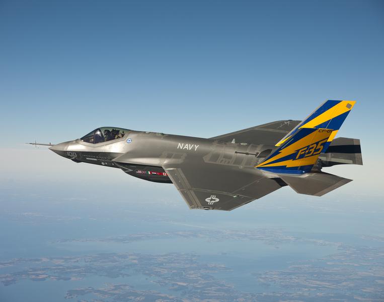 圖為F-35C在2011年測試時試飛的照片。(U.S. Navy photo courtesy Lockheed Martin via Getty Images)
