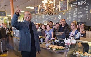 奥巴马走冰河 先到咖啡馆扫光肉桂卷