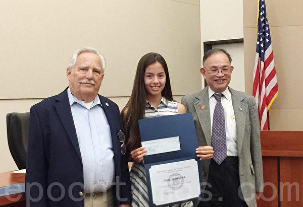 南加州同源會主辦的第二屆演講比賽季軍Nicole  Hernandez。(Juliet Zhu/大紀元)