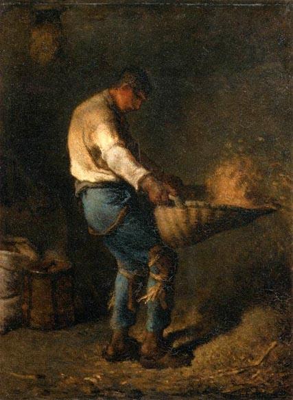 [法]讓-弗朗索瓦‧米勒(Jean-François Millet,1814—1875),《篩穀的人》(Le vanneur),1848年作,巴黎奧塞美術館藏。(維基百科公共領域)