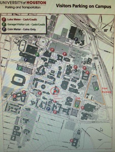 休斯頓大學Cullen Performance Hall停車地圖。(主辦方提供)