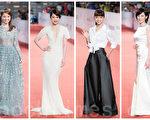 「金鐘50」星光紅毯,女星多以銀白色禮服亮相。(陳柏州/大紀元合成)
