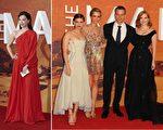 2015年9月24日,《火星救援》眾位主演在倫敦出席全球首映禮,左起:陳數,凱特.瑪拉,克莉絲汀.維格,馬特.達蒙與傑西卡.查斯坦。(AFP,Getty Images/大紀元合成)