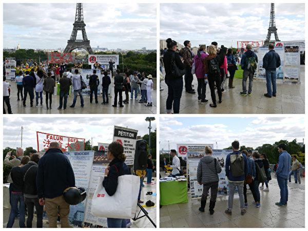 來自世界各地的遊人,被活動現場所吸引,駐足閱讀真相展板。(明慧網)